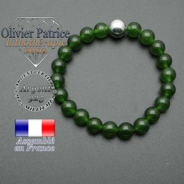 bracelet boule lisse de 10mm en argent 925 en jade de taiwan