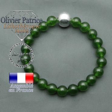 bracelet boule lisse de 12mm en argent 925 en jade de taiwan