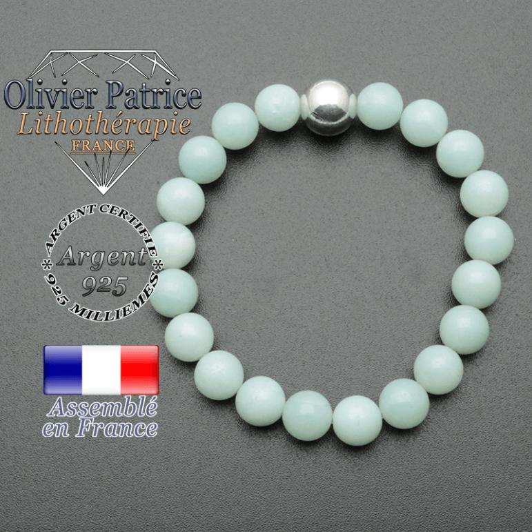 bracelet boule lisse de 10mm en argent 925 en jade vert