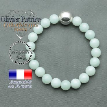 bracelet boule lisse de 12mm en argent 925 en jade vert
