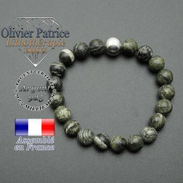 bracelet boule lisse de 10mm en argent 925 en jsape vert zebre