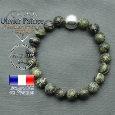 bracelet boule lisse de 12mm en argent 925 en jaspe vert zebre