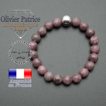bracelet boule lisse de 10mm en argent 925 en lepidolite