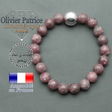 bracelet boule lisse de 12mm en argent 925 en lepidolite