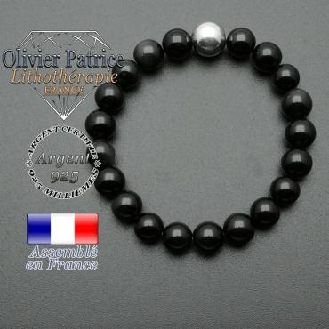 bracelet boule lisse de 10mm en argent 925 en obsidienne oeil celeste