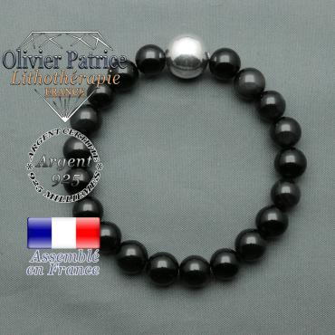 bracelet boule lisse de 12mm en argent 925 en obsidienne oeil celeste