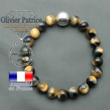 bracelet boule lisse de 12mm en argent 925 en oeil de faucon