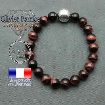 bracelet boule lisse de 12mm en argent 925 en oeil de taureau