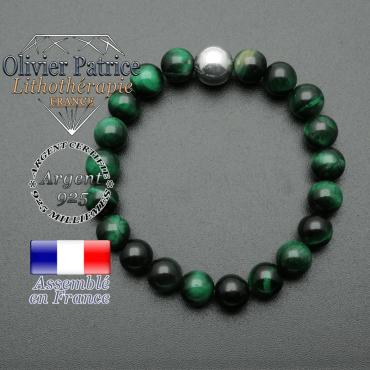 bracelet boule lisse de 10mm en argent 925 en oeil de tigre vert teinte