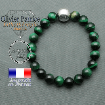 bracelet boule lisse de 12mm en argent 925 en oeil de tigre verte teinte