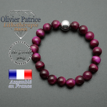 bracelet boule lisse de 10mm en argent 925 en oeil de tigre violette teinte