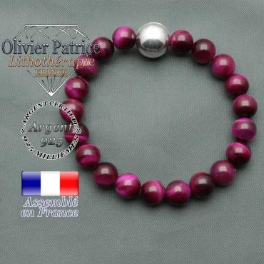 bracelet boule lisse de 12mm en argent 925 en oeil de tigre violette tente