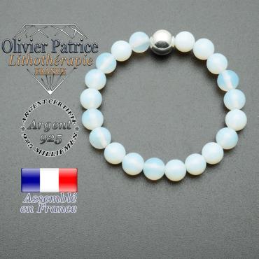 bracelet boule lisse de 10mm en argent 925 en opale