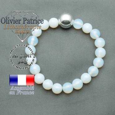 bracelet boule lisse de 12mm en argent 925 en opale