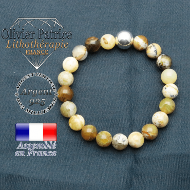 bracelet boule lisse de 10mm en argent 925 en opale jaune africaine