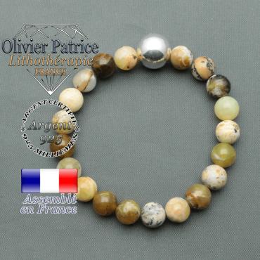 bracelet boule lisse de 12mm en argent 925 en opale jaune africaine