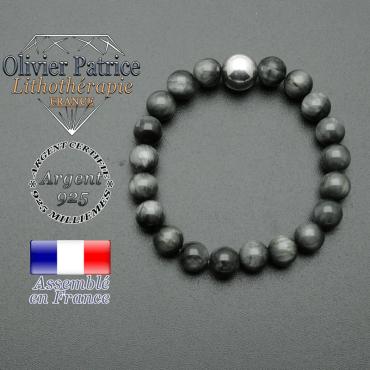 bracelet boule lisse de 10mm en argent 925 en pierre oeil d'aigle