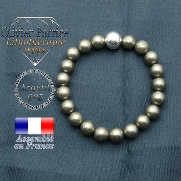 bracelet boule lisse de 10mm en argent 925 en pyrite