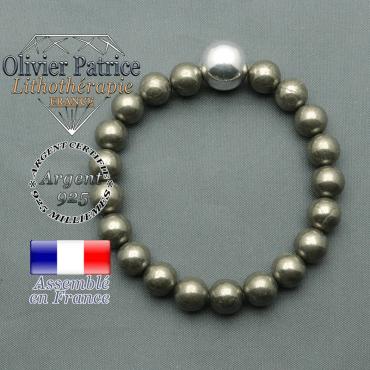 bracelet boule lisse de 12mm en argent 925 en pyrite