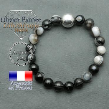 bracelet boule lisse de 12mm en argent 925 en sardonyx