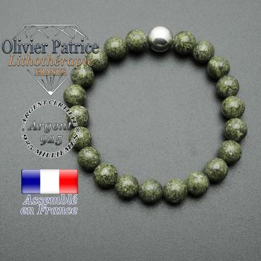 bracelet boule lisse de 10mm en argent 925 en serpentine