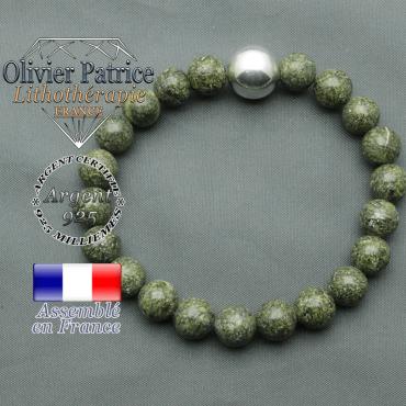bracelet boule lisse de 12mm en argent 925 en serpentine