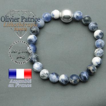 bracelet boule lisse de 12mm en argent 925 en sodalite