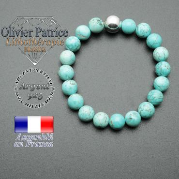 bracelet boule lisse de 10mm en argent 925 en turquoise