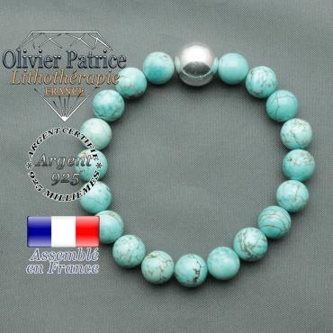 bracelet boule lisse de 12mm en argent 925 en turquoise