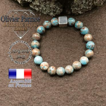Bracelet agate dentelle et cube croix en argent 925