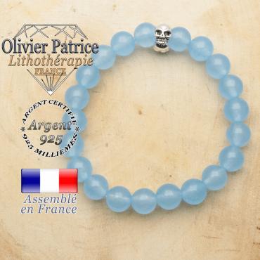 bracelet tete de mort avec sa pierre naturelle en agate bleue