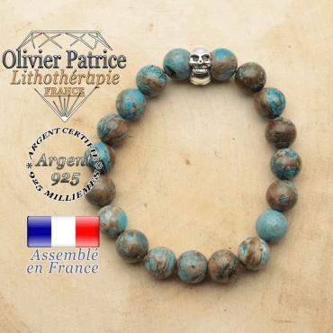 bracelet tete de mort avec sa pierre naturelle en agate bleue crazy lace