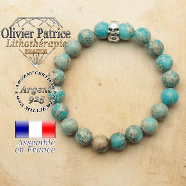 bracelet tete de mort avec sa pierre naturelle en agate dentelle
