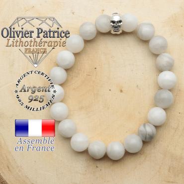 bracelet tete de mort avec sa pierre naturelle en agate grise