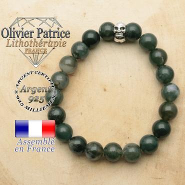 bracelet tete de mort avec sa pierre naturelle en agate mousse