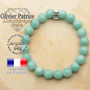 bracelet tete de mort avec sa pierre naturelle en amazonite