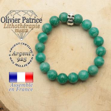 bracelet tete de mort avec sa pierre naturelle en amazonite de russie