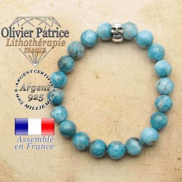 bracelet tete de mort avec sa pierre naturelle en apatite