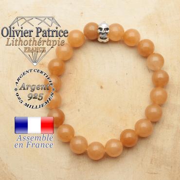 bracelet tete de mort avec sa pierre naturelle en aventurine orange