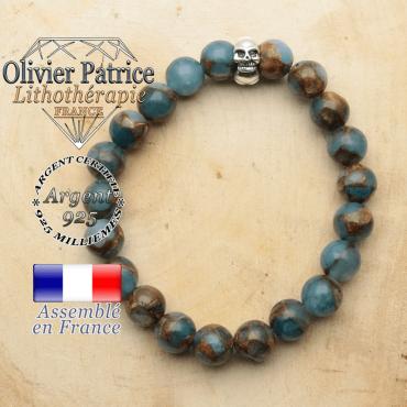 bracelet tete de mort avec sa pierre naturelle en bornite