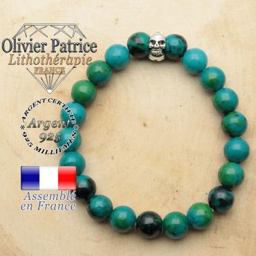 bracelet tete de mort avec sa pierre naturelle en chrysocolle