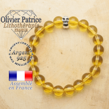 bracelet tete de mort avec sa pierre naturelle en citrine