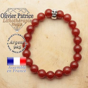 bracelet tete de mort avec sa pierre naturelle en cornaline