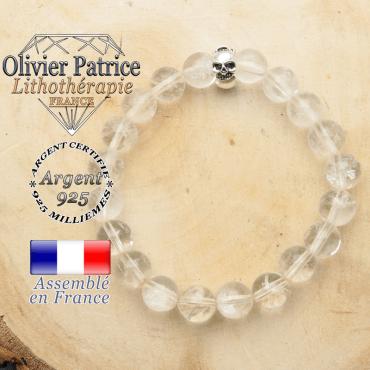 bracelet tete de mort avec sa pierre naturelle en cristal de roche