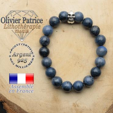 bracelet tete de mort avec sa pierre naturelle en dumorterite