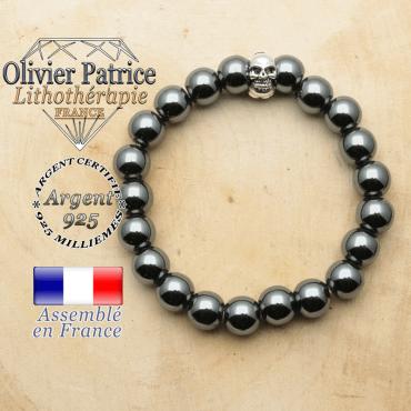bracelet tete de mort avec sa pierre naturelle en hematite