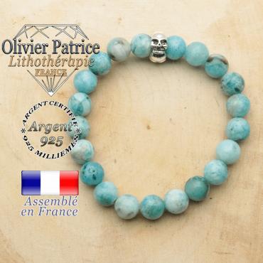 bracelet tete de mort avec sa pierre naturelle en hemimorphite