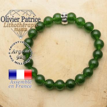 bracelet tete de mort avec sa pierre naturelle en jade de taiwan
