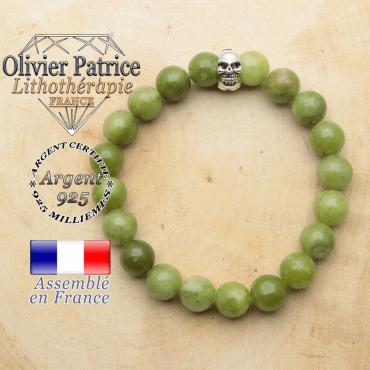 bracelet tete de mort avec sa pierre naturelle en jade nephrite du canada