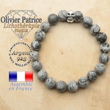 bracelet tete de mort avec sa pierre naturelle en jaspe gris crazy lace